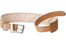 Woodland Dog Collar Leather for Dogs with 55-70 cm neck circumference in Tan