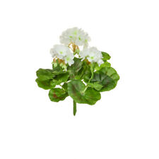 Geranium Bush Artificial Silk Upright 23cm White Hanging Basket Window Box