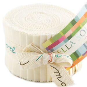 "Moda Bella Solids Ivory Junior Jelly Roll 20 2.5"" x 42"" Fabric Strips 9900JJR-60"