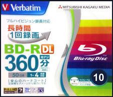 10 Verbatim BluRay 50GB 4x BluRay DVD Blank Discs Inkjet Printable BluRay Media