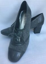 "Shoes ANNE KLEIN 2.5"" Wing Tip GRAY FLANNEL Heels Lace Up Bootie Pumps Oxford 10"