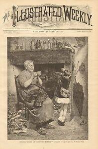 Mother & Child, Sewing, Mending Boy's Pants, Vintage, 1884 Antique Art Print