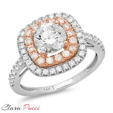 1.75 CT Round Cut halo Solitaire Engagement Ring Bridal band 14k White/Rose Gold