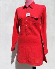 New 0039 ITALY Women's LINEN COLLARED Short SHIRT DRESS Long Sleeve RED Sz.L