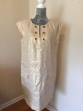 JCrew $138 Metallic Linen Shift Dress Grommets Sz 10 Golden Flax F2537 Sold Out!