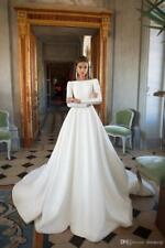 2018 Milla Nova Wedding Dresses A Line Satin Backless Sweep Train Long Sleeves