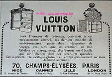PUBLICITE LOUIS VUITTON MALLE ARMOIRE PORTE HABIT PETIT NEGRE DE 1925 FRENCH AD