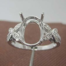 8x10mm Oval Cut Solid 18kt 750 White Gold Natural Diamond Semi Mount Ring