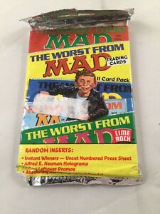The Worst From Mad Magazine trading cards 1992 unopened pack, new old stock