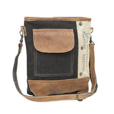 """PEACE PATIENCE KINDNESS GOODNESS Recycled Canvas + Leather Shoulder Bag 13.5"""" W"""