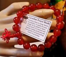 Carnelian Prayer Bracelet / Wrist Mala - 10mm. 18 Beads plus Guru Bead. #41012