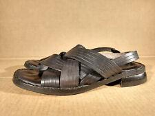 Kenneth Cole New York Black Leather Criss Cross Flat Comfort  Sandals Sz 8