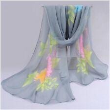 destockage foulard écharpe neuf mousseline de soie gris bouquet de fleurs
