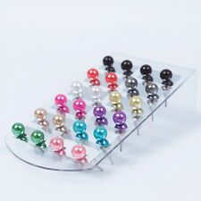 High Quality 12 Pair Women 6Mm Pearl Round Ear Stud Earring Set Display Stand