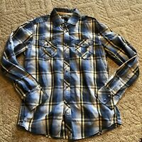 Inc international concepts Blue Pearl Snap Small Button Down Shirt Mens Western