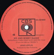 Janis Joplin ORIG OZ 45 Me and Bobby McGee EX '71 CBS Blues Rock