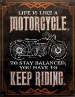 PLAQUE METAL vintage USA MOTORCYCLE KEEP RIDING  40 X 30 CM