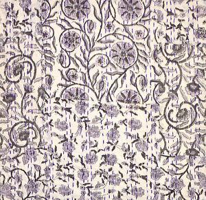 "Indian Hand Block-Printed Cotton Kantha Stitch C/Cover - Violet -18""/45 cm"