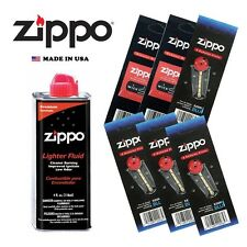 Zippo 4 OZ Fluid Fuel and 6 Vulet Pack ( 24 Flints + 2 Wick ) Gift Set Combo