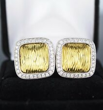 Spark 18k Yellow White Gold Elephant Skin Wave Round Pave Diamond Earrings