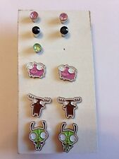 NEW Invader Zim Stud Earrings Pig Moose Gir Dog 5 Pairs