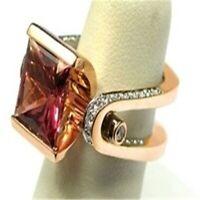 1Pcs/Set 18K Rose Gold Ruby Red Gemstone Ring Women Wedding New Jewelry Sz5-12