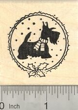 Christmas Scottish Terrier Rubber Stamp, Scotty Dog in Scarf E22911 WM
