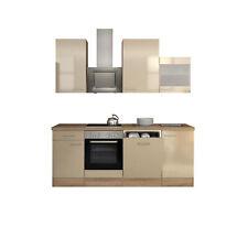 Küche mit Geschirrspüler Küchenzeile Einbauküche Elektrogeräte 220cm creme beige