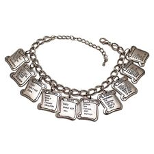 Ten 10 Commandments Charm Bracelet Silver - 10 Tablets
