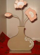 Holzfigur, Blumenvase mit Blumen,grau,weiß,zartrosa,23,5cm hoch,12cm breit,Neu