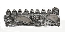 Hanukkah 925 Sterling Silver Collector Menorah Hanukkia Old Jerusalem Skyline