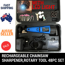 BATTERY OPERATED CORDLESS CHAINSAW CHAIN GRINDER SHARPENER ROTARY TOOL 48PC SET