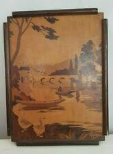 Peinture sur bois signée Rosenau. Rosenau wood painting