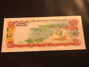 BAHAMAS $3 AU 1965 P 19a Three Dollar Sands & Higgs Queen Elizabeth QEII