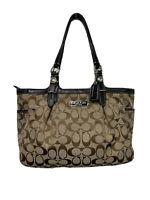 Coach Dark/Light Brown Logo Jacquard Leather Trim Shoulder Bag F16561