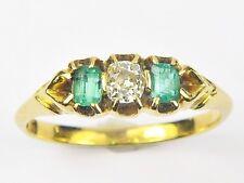 STUNNING ANTIQUE VICTORIAN ENGLISH 18K GOLD EMERALD DIAMOND RING c1890