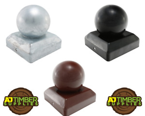 """Metal Round Ball Fence Post Caps / Black / Red / Galvanised / 75mm 100mm 3"""" 4"""""""