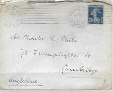 France 1913 de Paris avec 25 C pour l'Angleterre mon ref 439