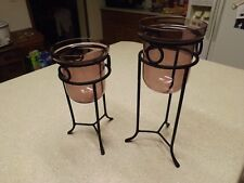 Pair Decorative Metal w Globes - Pillar Candle Holders - Tabletop Purple