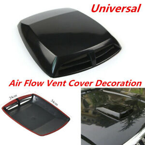 Car SUV Decorative Simulation 3D Air Flow Intake Front Hood Scoop Vent Black ABS