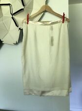 Blumarine Straight Pencil 100% Silk fully lined white cream skirt Italy size 46