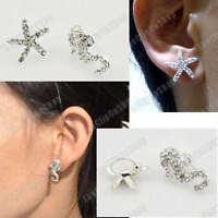 U clip on SEAHORSE & STARFISH diamante CRYSTAL EARRINGS silver rhinestone