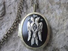 2 HEADED BIRD W/ BRANCH, ARROW AND EYE HAND PAINTED CAMEO BRONZE LOCKET - GOTH