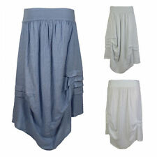 Linen Patternless Casual Maxi Skirts for Women