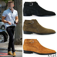 Men Real Leather Suede Chelsea Boots Buckle Strap Pointy Toe Retro British Shoes