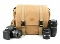 Brown Canvas Carry Bag/Case for Nikon D500 Digital SLR Camera W/ Shoulder Strap