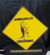 Vintage Armadillo Crossing Metal Street Sign Texas Lone Star Cowboy