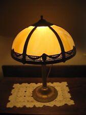 Antique Arts & Crafts French Revival Fleur de Lie Slag Glass Lamp NO Saints Fan?