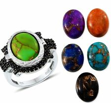 Green Blue Orange Purple Turquoise Lapis Lazuli Black Spinel Ring Size 8