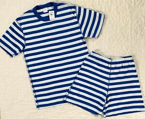 NWT Hanna Andersson ADULT Short Johns Summer Pajamas Blue Stripe Men Women S M